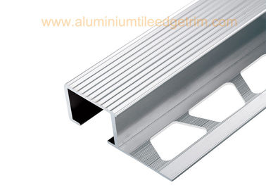 Exterior Aluminium Stair Tread Nosing Anodized Matt Silver  For Ceramic / Wood Covering
