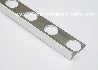 China Brushed Silver Effect Aluminium Straight Edge Tile Trim For 6mm Ceramic Tile fournisseur