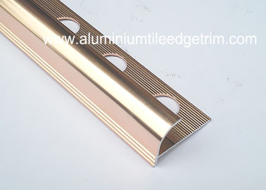 China Anti Corrosion Aluminium Round Edge Tile Trim In Polished Rose Gold fournisseur
