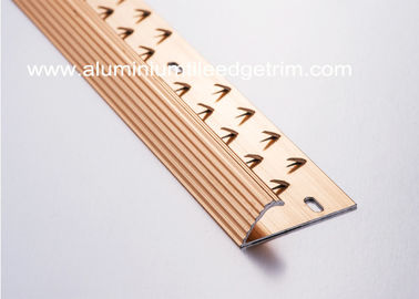 Anti Slip Single Edge Aluminium Carpet Trim Transition Strip Anodized Red Copper Color